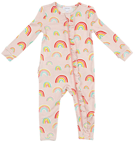 Angel Dear Pink Rainbows Bamboo Ruffle Front Romper with Zipper