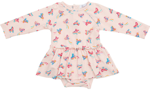 Angel Dear Roller Skates L/S Skirted Bodysuit