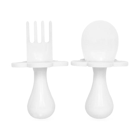 Marshmallow White Grabease Spoon & Fork Set