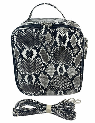 Bari Lynn Silver Snake Print Lunch Box