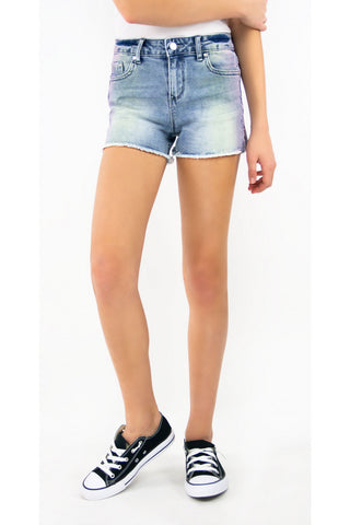 Tractr Girls Ombre Fray Hem Brittany Short