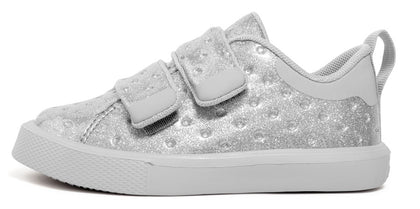 Native Monaco Silver Glitter Velcro Shoe Basically Bows & Bowties