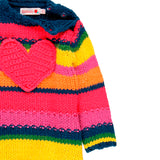 Boboli Rainbow Stripe Heart Sweater Dress