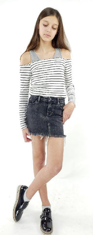 Tractr Lisa Grey Basic Mini Skirt