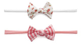 Baby Bling Mini Print 2pc Set-Ditsy Floral & Coral Stripe - Basically Bows & Bowties