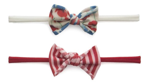 Baby Bling Mini Print 2pc Set-Red Stripe & Poppy - Basically Bows & Bowties