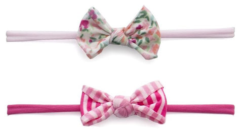 Baby Bling Mini Print 2pc Set-Scatter Floral & Hot Pink Stripe - Basically Bows & Bowties