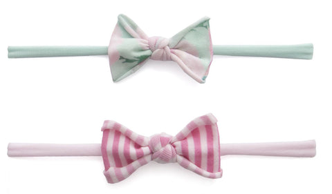 Baby Bling Mini Print 2pc Set-Watercolor Floral Mint & Pink Mini Stripe - Basically Bows & Bowties