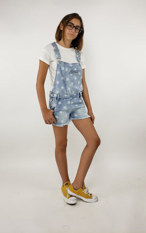 Tractr Girls Stars Denim Short Romper