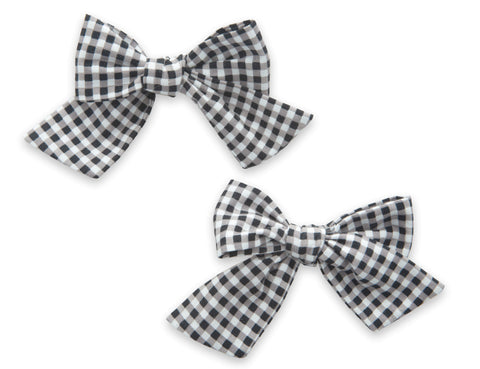 Baby Bling Black Gingham Big Cotton Bow Clip Set