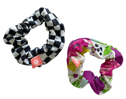 Baby Bling Floral Check Scrunchie 2 Pack