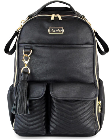 Itzy Ritzy Black Jetsetter Backpack Diaper Bag Basically Bows & Bowties
