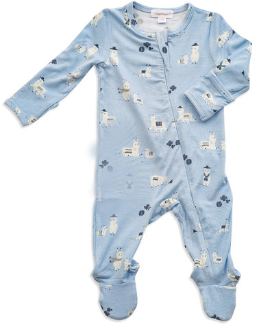 Angel Dear Blue Llama Bamboo Zipper Footie