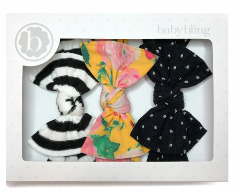 Baby Bling A Gift For You Headband Set-Black Stripe/Floral/Shabby Black Dot - Basically Bows & Bowties