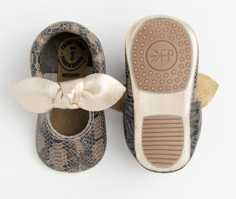 Freshly Picked Platinum Snakeskin Knotted Bow Mini Sole