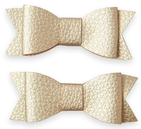 Baby Bling Leather Bow Tie Clip Set-Gold - Basically Bows & Bowties
