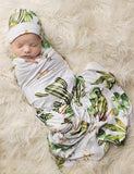 Posh Peanut Cactus & Wooden Wheel Swaddle & Beanie Set