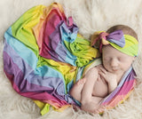 Posh Peanut Rainbow Stripes Swaddle & Headband Set