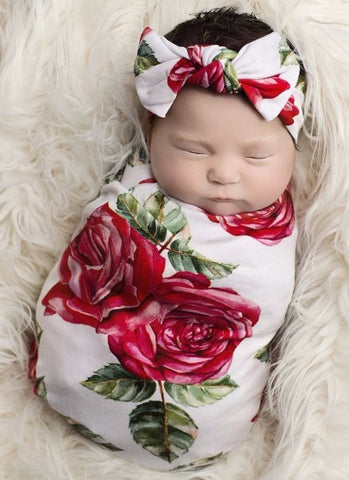 Posh Peanut Dolce Rose Swaddle & Headband Set