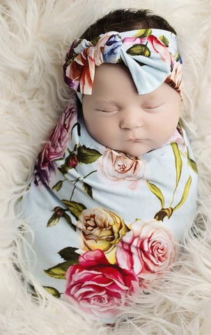 Posh Peanut Country Rose Swaddle & Headband Set