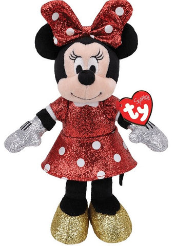Ty Red Sparkle Minnie Mouse Plush Doll