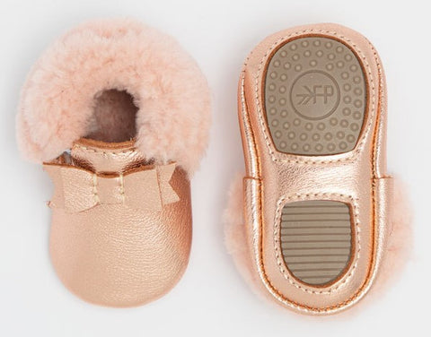 Freshly Picked Rose Gold with Pink Shearling Bow Mini Sole Basically Bows & Bowties