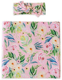 Little Sleepies Alexandra Floral Bamboo Swaddle & Headband Set