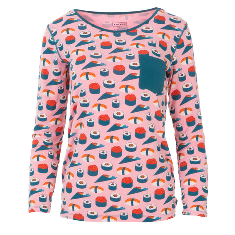 KicKee Pants Lotus Sushi Women's L/S Loosey Goosey Tee with Pocket