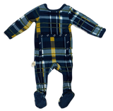 Kozi & Co Hunter & Gold Plaid Footie with Snaps Basically Bows & Bowties
