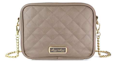 Itzy Ritzy Taupe Crossbody Diaper Bag Basically Bows & Bowties