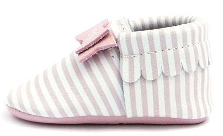 Freshly Picked Pink Candy Stripe  Bow Moccasins