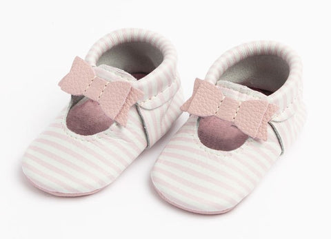 Freshly Picked Pink Stripe Ballet Flat Bow Mini Sole