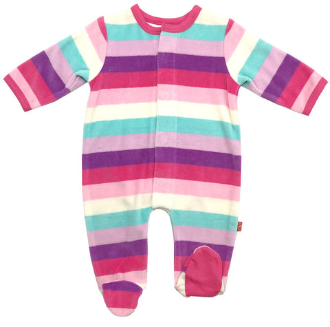 Magnetic Me Shortcake Stripe Velour Magnetic Footie