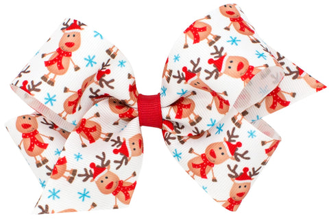 Wee Ones Large Reindeer Hair Bow on Clippie