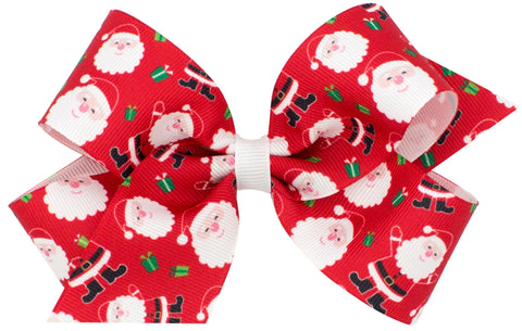 Wee Ones Large Santa Hair Bow on Clippie