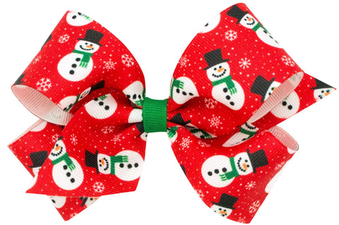 Wee Ones X-Large Snowman Hair Bow on Clippie