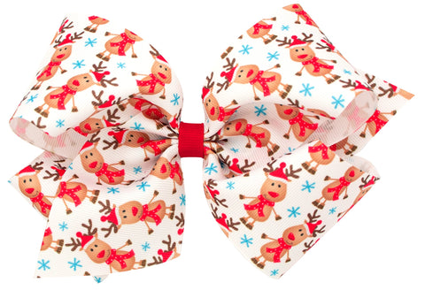 Wee Ones X-Large Reindeer Hair Bow on Clippie
