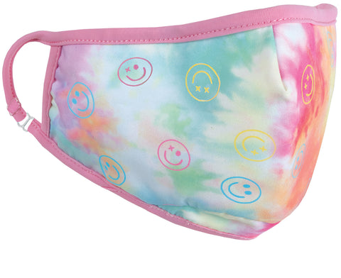 Iscream Cotton Candy Heart Tie Dye Children's Face Mask