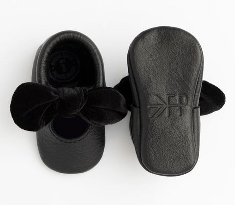 Freshly Picked Black Velvet Knotted Bow Soft Sole Moccasins