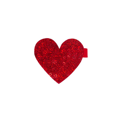 Wee Ones Red Glitter Heart on Clippie