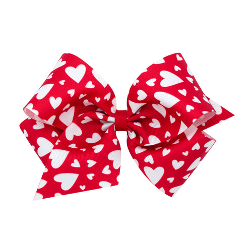 Wee Ones Large Red Heart Hair Bow on Clippie