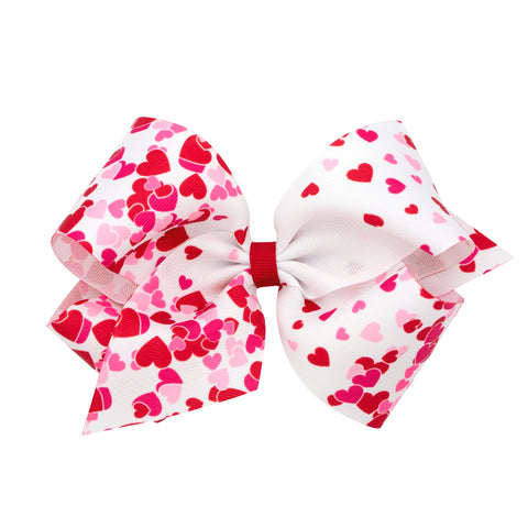 Wee Ones Large White Multi Heart Hair Bow on Clippie