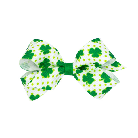 Wee Ones Mini White & Green Dot Shamrock Print Hair Bow on Clippie