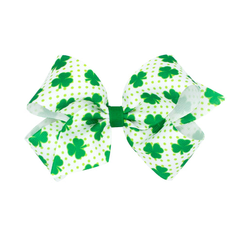 Wee Ones Medium White & Green Dot Shamrock Print Hair Bow on Clippie