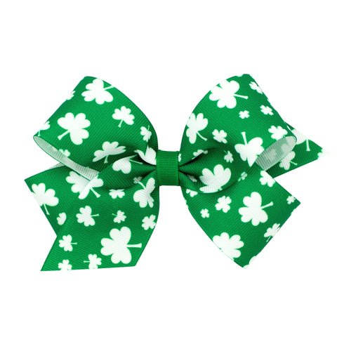 Wee Ones Medium Green & White Shamrock Print Hair Bow on Clippie