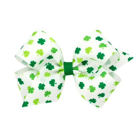 Wee Ones Mini White w/Green Shamrock Print Hair Bow on Clippie