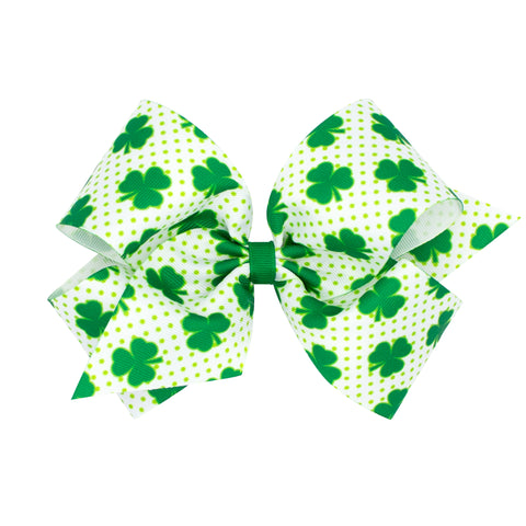 wee Ones King White & Green Dot Shamrock Print Hair Bow on Clippie