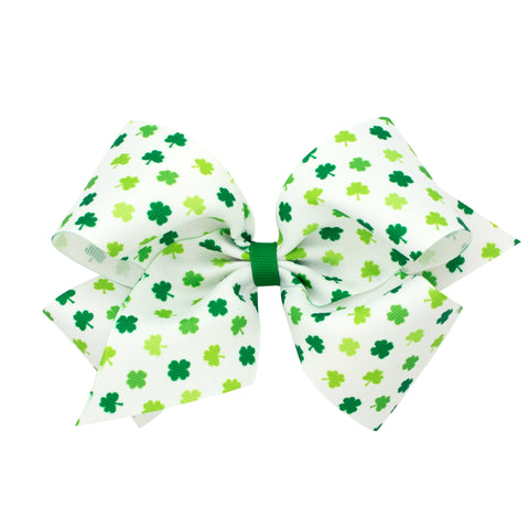 Wee Ones King White w/Green Shamrock Print Hair Bow on Clippie