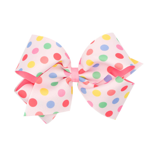 Large Pastel Dots Printed Overlay Hair Bow on Clippie