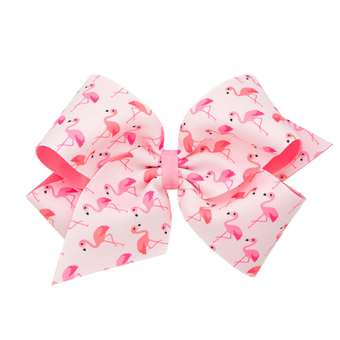 Large Flamingo Printed Overlay Hair Bow on Clippie
